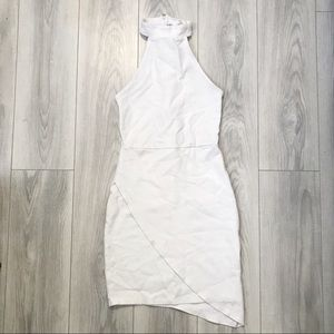 Forever 21 White Halter Asymmetrical Bodycon Dress